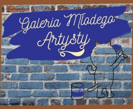 Obrazek przedstawiający logo Galerii Młodego Artysty - malujący kotek wraz z nazwą galerii