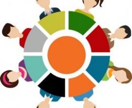 Rysunek: dzieci siedzą wokół kolorowego koła