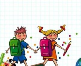 Rysunek dzieci idących do szkoły