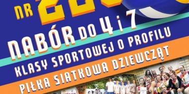 plakat informujący o naborze do klasy siatkarskiej - klasa 4 w roku szkolnym 2020/2021
