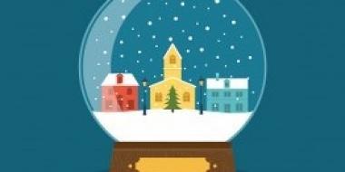 obrazek przedstawiający kulę śnieżną zawierającą wewnątrz miasto