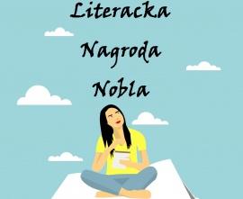 Szkolna literacka nagroda nobla - obrazek przedstawia siedzącą na otwartej książce dziewczynę, która w dłoniach trzyma papier i długopis.